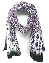 ScarfKing Ikat Design Women Scarf-Purple Black