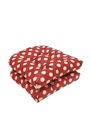 Waverly Sun-n-Shade Set of 2 Solar Spot Henna Wicker Seat Cushions (Red/Tan)