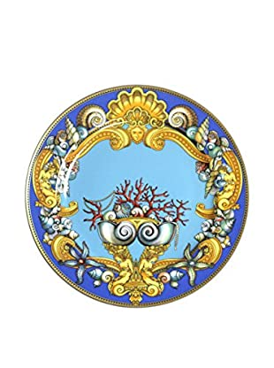 Versace Charger Plate in Box, Blue/Yellow