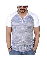 Black Collection Men's V-Neck Cotton T-Shirt (Gray_Large)