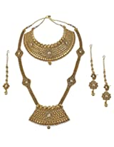 Exclusive Gold Plated Charm Look Fashion Design Polki Bridal Necklace Set Indian Wedding Jewelry