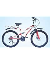 "HI-BIRD SINGHAM 21 SPEED DUAL DISC BRAKE 26"" UNISEX DOUBLE SUSPENSION MOUNTAIN BIKE, WHITE AND RED"