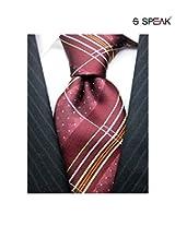 SPEAK Maroon Striped & Dotted Tie