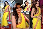 Bollywood Replica Monica Bedi 60 Gram Georgette Saree In Yellow Colour NC550