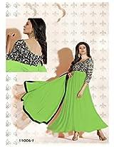 Bollywood Sushmita Parrot Green Georgette Anarkali Suit