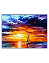 TIA Creation Best View of Sunrise Canvas 0333 Print on Cotton Canvas 31inch x 22inch