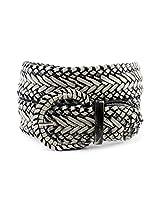 Nyfashion101 Web Woven Braid Faux Leather Vintage Style Wide Belt-Silver