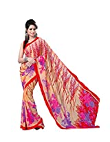 ANSS Elegant Faux Georgette Saree with Floral Print - Picth color