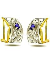 0.12ct Diamond & Sapphire Two -Tone Earring