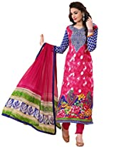 Rozdeal Women Georgette Printed Unstitched Long Sleeve Green Anarkali Suit