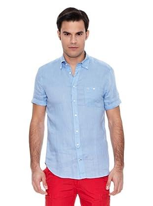 Pedro del Hierro Camisa Lino Liso Lavado (Azul)