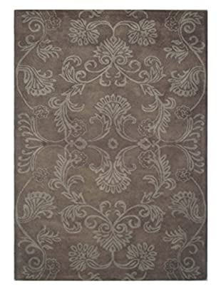 Floral Scrollwork Rug, Brown, 5' x 8'
