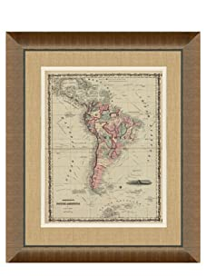 """Johnson and Ward Antique Map of South America, 1860's, 28"""" x 34"""""""