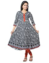 Black Cotton Anarkali Kurti
