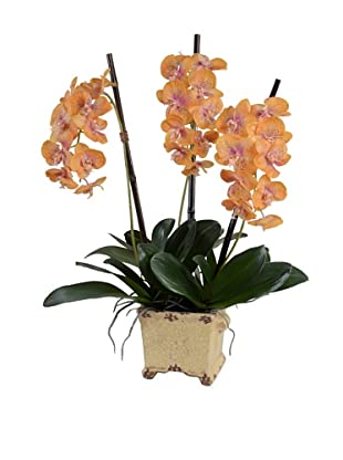 New Growth Designs Faux Phalaenopsis Orchid (Orange/Fuschia)