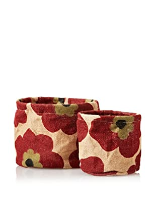 rockflowerpaper Set of 2 Jute Potted Plant Covers (Red)
