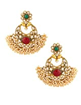 Voylla Festive Dangler Earring With Green And Red Colroed Stones