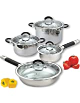Cook N Home 8 Piece Stainless Cookware Set Encapsulated Bottom