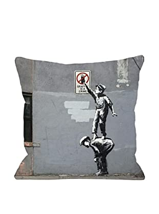 Banksy Graffiti is a Crime Pillow
