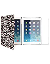 VanGoddy Mary Smart Cover Portfolio KickStand Smart Case For Apple iPad Air (Leopard) + Matte Screen