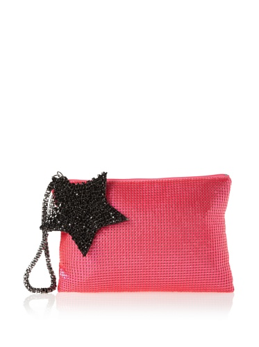 Felix Rey Women's Superstar Mesh Clutch with Wristlet (neon pink)