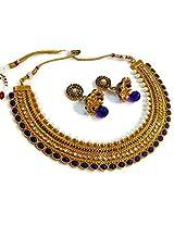 Divinique Jewelry GRAND BLUE PEARL POLKI NECKLACE SET