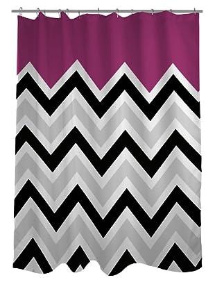 One Bella Casa Chevron Solid Shower Curtain, Black/White/Fuchsia