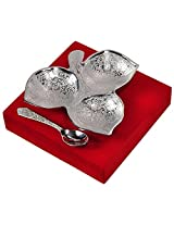 Shreeng Enterprises Stainless Steel Cake Platter with Spoon, Silver