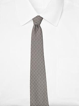 Battistoni Men's Novelty Print Tie, Taupe/Grey/White