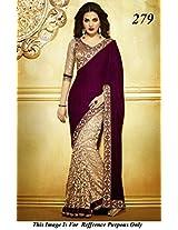 Designer Cream and Maroon Jacquard velvet fabric saree
