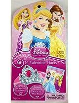Disney Princess 16 Valentine Tiara Cards with Bonus Poster