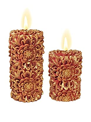 Volcanica Set of 2 Red & Gold Dendritic Pillar Candles