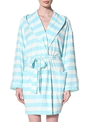 Aegean Apparel Women's Rugby Stripe Knit Terry Robe with Hood (Turquoise/Mint)