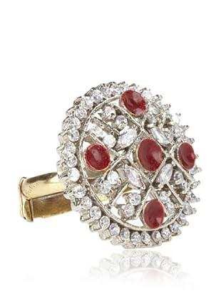 Taara Red Crystal Adjustable Circle Ring