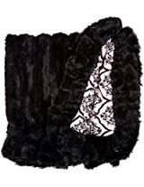 BESSIE AND BARNIE Pet Blanket, Small, Versailles Pink/Black Puma with Ruffle