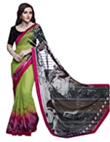 Shoppingover Festival Wear Georgette Fabric Saree in Green and Pink Color