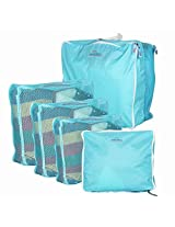 1PC 5X Set Travel Storage Bag Luggage Clothes Tidy Organizer Pouch Polyester Suitcase Handbag Case ( Colour: (Blue)