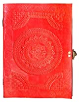 Handcrafted Brick Red Chapma Embossed Leather Big Journal/Notebook with C-Lock