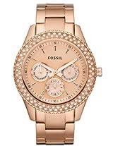 Fossil Stella Glitz Rose Gold Chronograph Ladies Watch Es3003