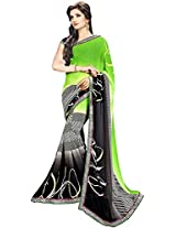 Shree Bahuchar Creation Women's Chiffon Saree(Skb37, Green and Black)