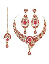 I Jewels Traditional Gold Plated Bridal Jewellery Set with Maang Tikka For Women (Red)(M4036R)