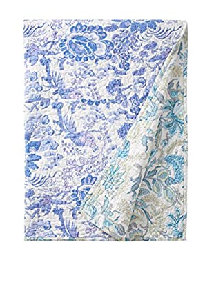 North Rodeo Collection Floral Block Hand Stitched Throw, Blue