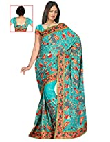 Sehgall Saree Indian Ethnic Professional Rama Shimmer Embroidery Saree