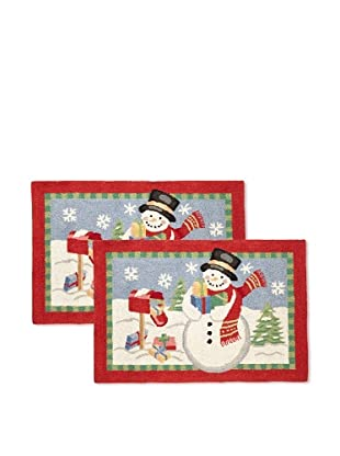 C & F Enterprises Set of 2 Snowman with Gifts Hooked Rugs
