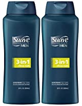Suave Men 3-in-1 Shampoo, Conditioner & Body Wash, 28 oz, 2 pk