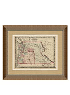 """Johnson and Ward Antique Map of Washington & Oregon, 1860's, 24"""" x 26"""""""
