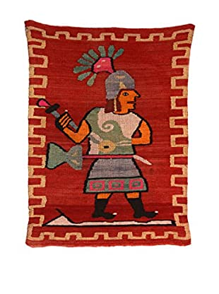 Handmade Vintage Warrior Rug, Brick/Assorted Colors