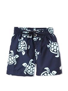 Azul Swimwear Boy's Turtles Boardshorts (Navy)