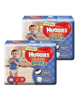Huggies Ultra Soft Pants Medium Size Premium Diapers for Boys ( 2 x 30 Counts)