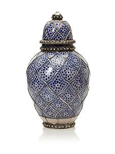Hand-Painted Jar with Metal Trim (Blue)